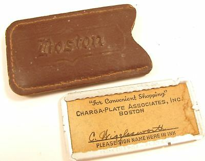 Vintage Boston Charga-Plate Associates Charge Account Credit Card + Pouch*Y959