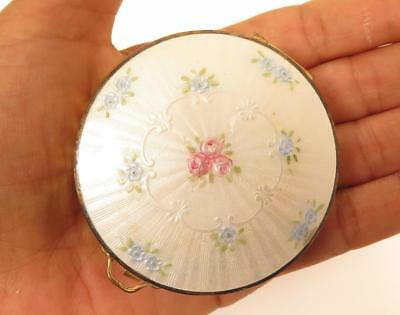 Vintage Art Deco Guilloche Enamel Pink & Blue Flowers Mesh Make-Up Compact*F357