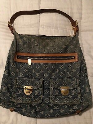 Authentic Louis Vuitton Monogram Denim Baggy Gm Shoulder Bag