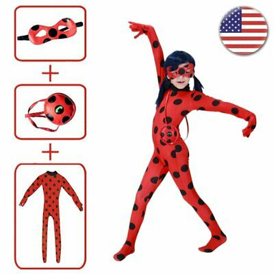Girls Miraculous Ladybug Costume Marinette Jumpsuit Mask Bag Halloween Cos Suit