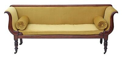 Antique quality Georgian Regency scroll arm sofa chaise longue mahogany