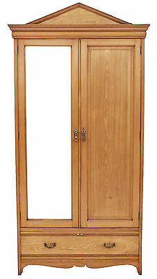 Antique large quality Gothic Victorian 19C ash oak armoire wardrobe
