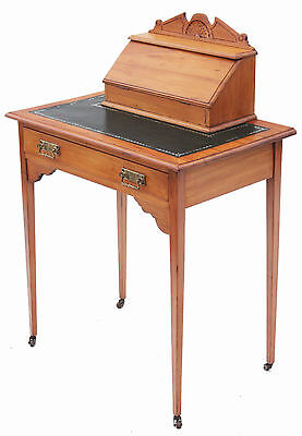Antique Victorian 19C satinwood leather writing dressing table desk