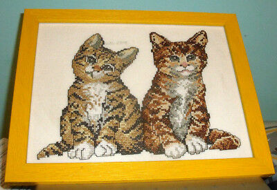 REDUCED 2 Kittens Permin of Copenhagen Finished / Completed Counted Cross Stitch