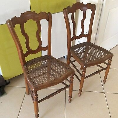 Cannage Style 2 Chaises Massif Assises Bois Anciennes Bistrot En YED9eWHI2