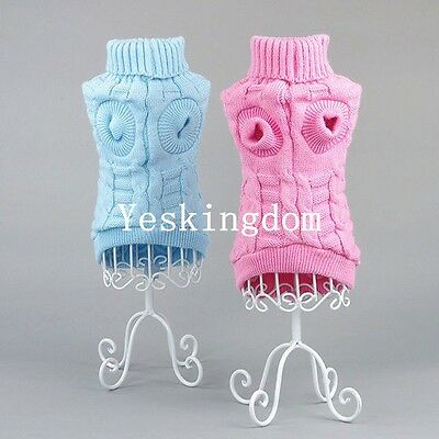 2018 Pet Dog Winter Warm Knitted Sweater Clothes Jumper Knitwear Apparel Coat UK