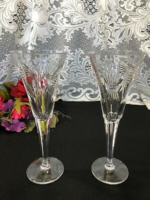 """Set of 2 Waterford Crystal Millennium """"Five Toasts"""" Toasting Flutes 9 1/4"""""""