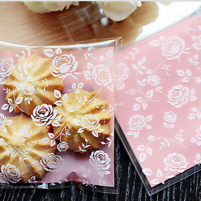 100 Pcs  Flowers Cellophane Party Cookie Biscuit Sweet Candy Food Gift Bag 6A