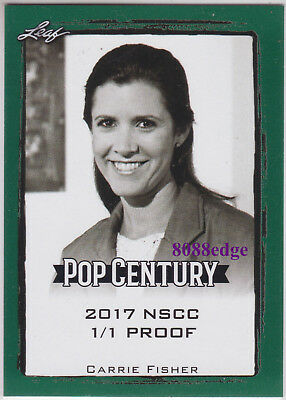 """2017 Pop Century Nscc Proof: Carrie Fisher #1/1 Of Blank Back """"star Wars - Leia"""""""