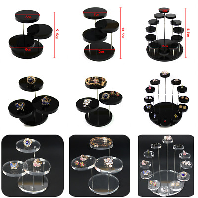 Jewelry Acrylic Ring Earrings Bracelet Round Table Holder Stand Display Rack