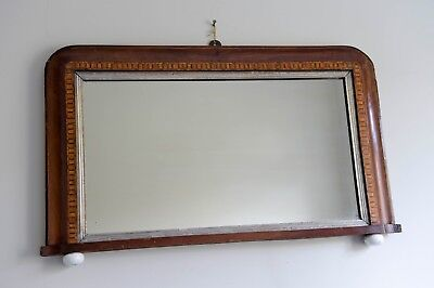 Antique Edwardian mahogany wall hanging mirror with inlaid design