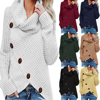 Women Winter Loose Button Tops Long Sleeve Knitted Jumper Pullover Sweater Shirt