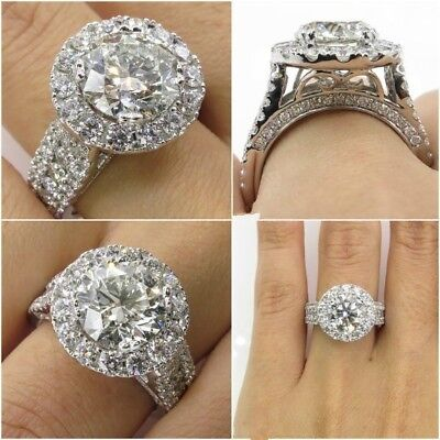 Fashion Round Cut White Sapphire 925 Silver Filled Rings Wedding Ring Size 6-10