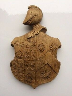 Solid Oak Hand Carved Medieval Style Heraldic Coat of Arms