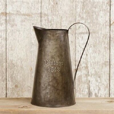 Primitive 1843 PITCHER Vintage Style Rustic Tin French Country Vase Farmhouse