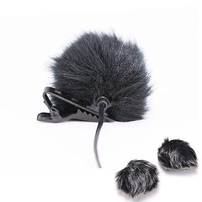 Black Fur Windscreen Windshield Wind Muff for Lapel  Microphone Mic HDUK