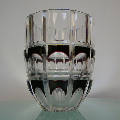 VAL ST LAMBERT VASE ART DECO CRISTAL doublé PRUNE CUT TO CLEAR CRYSTAL 1930