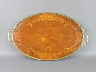 Lovely Tray Wooden Inlaid With Frame And Handles Golden Period '900