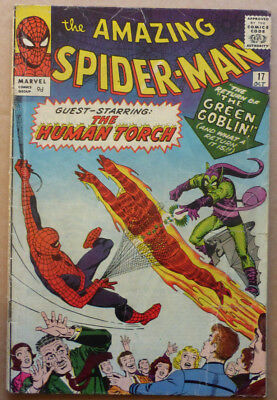 AMAZING SPIDER-MAN #17, ORIGINAL 1964 MARVEL, 2nd APPEARANCE OF GREEN GOBLIN.