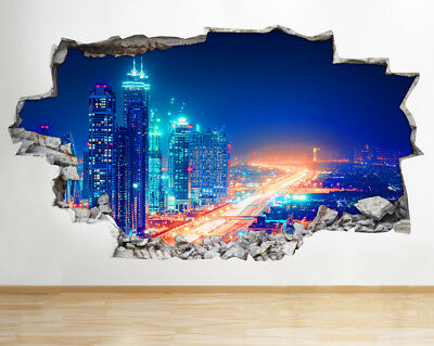 Wall Stickers City Night Lights Buildings Smashed Decal 3D Art Vinyl Room AA588