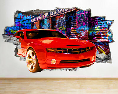 Wall Stickers Cool Red Car Graffiti living Smashed Decal 3D Art Vinyl Room BB114