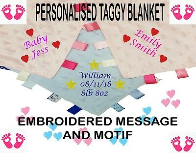 Personalised Embroidered Baby Taggy Taggie Blanket Comforter Boy Girl *New Baby*