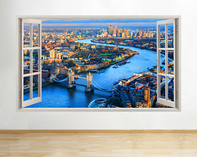 Wall Stickers London City Aerial Thames Smashed Decal 3D Art Vinyl Room AA726