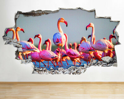 Wall Stickers Pink Flamingoes Birds Nature Smashed Decal 3D Art Vinyl Room AA976