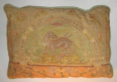 Large Antique French Tapestry Pillow