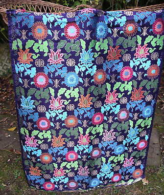 Antique Chinese Heavy Silk & Silver Metal Thread Woven Textile Fabric Panel Vtg