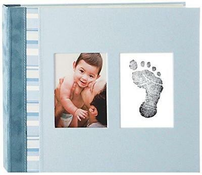 Pearhead Blue Suede Baby Memory Book with Clean-Touch Ink Pad, Blue