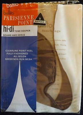 Vintage Fully Fashioned Sheer Mesh SEAMED Stockings Parisienne Point BALLITO 32