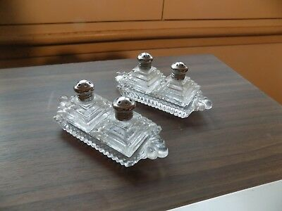 Pair (2) Sets Vtg Irice Mini Crystal Salt And Pepper Shakers With Crystal Tray