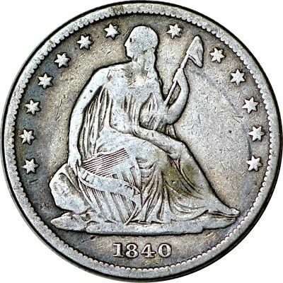 1840 50C Small Letters Seated Liberty Half Dollar VG  K5478