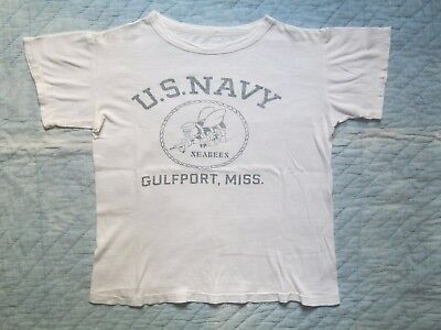 REDUCED! VINTAGE WW2 WWII 1940s USN US NAVY SEABEES T-Shirt