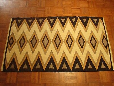 Antique Old Native American Indian Rug 61 Inches Geometric Folk Blanket Navajo