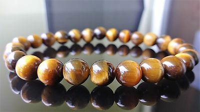 """Genuine Yellow TIGER EYE Bead Bracelet for Men (On Stretch) 8mm - 8"""" inch AAA"""