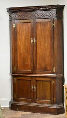 Antique George III Mahogany Corner Cupboard, English, ca 1765