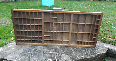 Vintage Printers Wood Letterpress Type Tray / Case