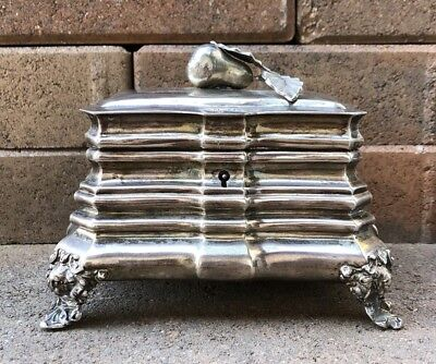 Georgian Coin Silver Key Locking Cherub Footed & Pear Fruit Tea Caddy Box