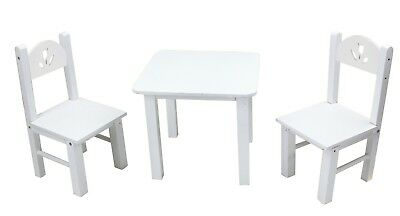 18 Doll Furniture Wooden Table And Chairs Set White Fits American Girl Dolls