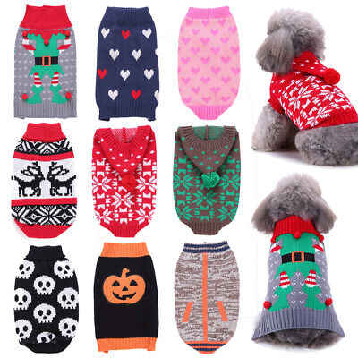 Christmas Pet Dog Cat Puppy Winter Warm Sweater Jumper Knitted Vest Coat Costume