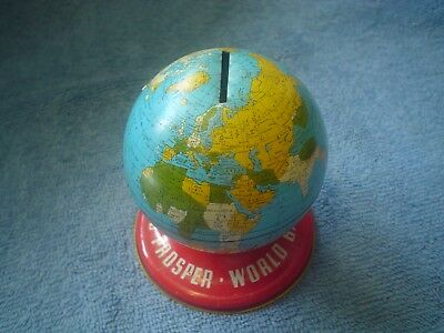 Old Vintage Ohio Art Co Lithograph Tin Toy World Bank As you Save So you Prosper