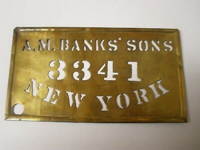 c. 1900  BRASS WOODEN BOX STENCIL, A M BANKS' SONS New York Fruit Cranberries