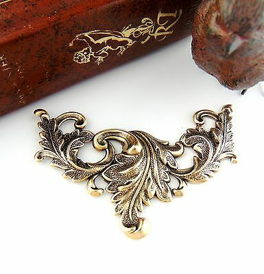 ANTIQUE BRASS SCROLLING ACANTHUS LEAVES Art Nouveau Stamping (FC-11)