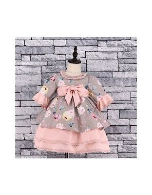 Stunning Baby Girls Spanish Style Romany Tiered Pink Floral & Bow Occasion Dress
