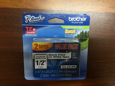 2-PACK Brother P-Touch TZe-2312PK Label Tape, Black Print on White Tape