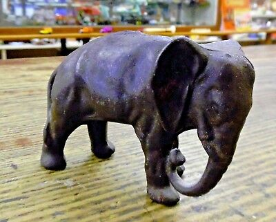 ANTQ Hubley Arcade Cast Iron Elephant Still Penny Bank