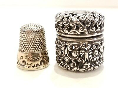 1880's Ketcham & McDougall Sterling Silver & 14K Gold Thimble with Sterling Case