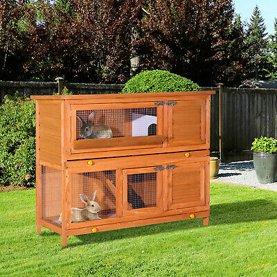2 Story Elevated Wood Rabbit Hutch Bunny Poultry Cage w/ Tray
